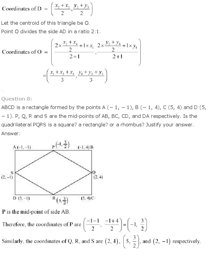 NCERT Solutions for Class 10th Maths: Chapter 7   Coordinate Geometry