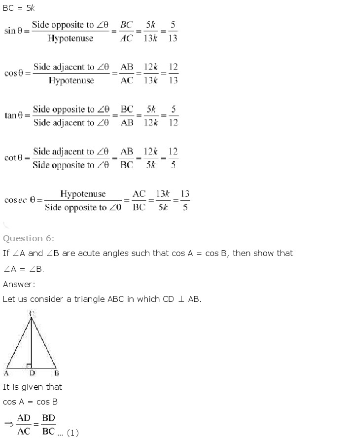 NCERT Solutions for Class 10th Maths: Chapter 8   Introduction to Trigonometry