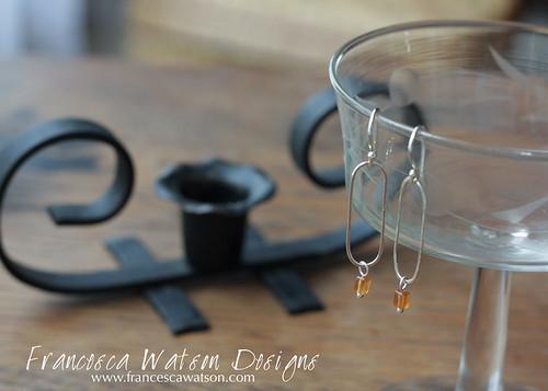 Oblong Hoops with Garnet by Francesca Watson Designs