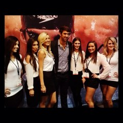 Emme Girls New Orleans modeling agency staffing trade show models at Morial Convention Center with Olympic gold medalist Michael Phelps