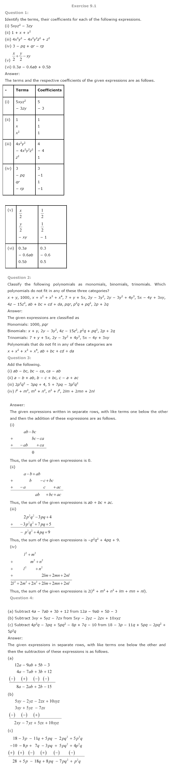 NCERT Solutions for Class 8th Maths Chapter 9 Algebraic Expressions and Identities