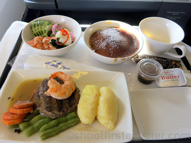 Philippine Airlines Business Class meal Mnl-Hkg-Mnl- beef tenderloin & prawn w: truffle bernaice sauce & cheddar croquette