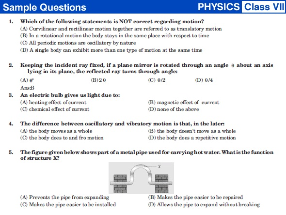NSTSE 2014 Class VII Sample Question Papers Physics