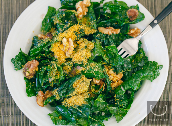 Tuscan Kale Salad with Lemon-Shallot Dressing + Parmela (Vegan and Gluten-Free)