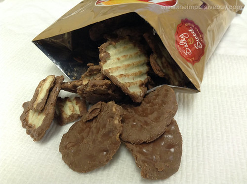 Limited Edition Lay's Wavy Original Potato Chips Dipped in Milk Chocolate Closeup