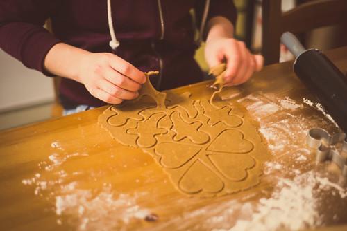 Baking gingerbread cookies