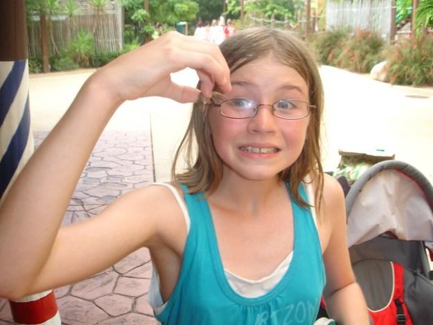 Aly finally caught a lizard at Busch Gardens