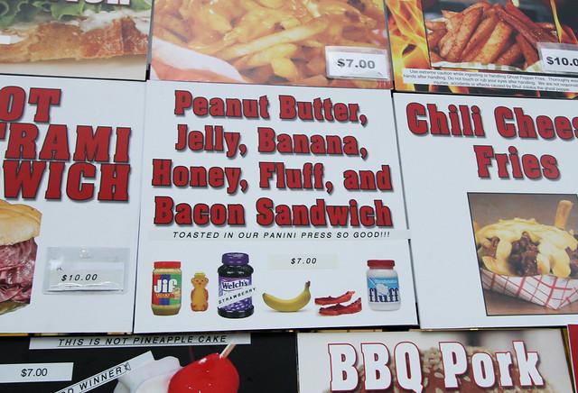 Peanut Butter, Jelly, Banana, Honey, Fluff, and Bacon Panini Sandwich