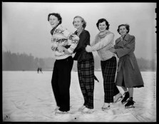 Women ice skating on Lost Lagoon in Stanley Park, 1949 copy
