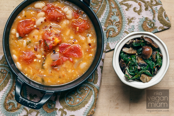 Vegan & Gluten-Free Fagioli All'Uccelletta with Sautéed Rainbow Chard + Mushrooms