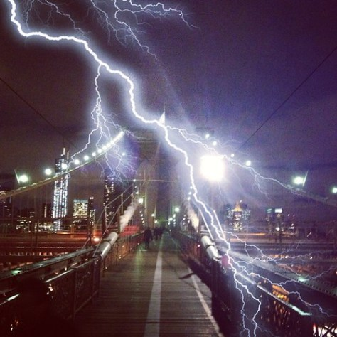 New York City Photos - Lightning On The Brookyn Bridge by The Main Street Analyst