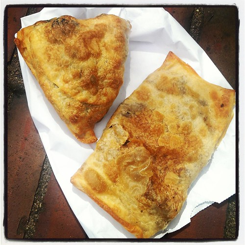 Spinach and meat byrek at the Mediterranean Home Cooking truck