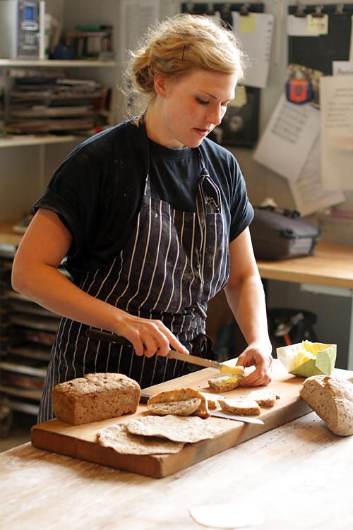 buttering bread at Rosendals Trädgård