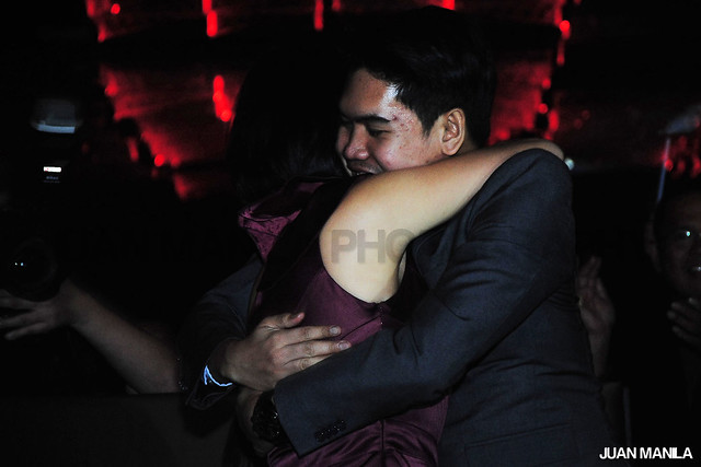 Jonathan Yabut and Andrea Loh hugged each other after Jonathan's name was called by Tony Fernandes during the final viewing party of The Apprentice Asia Season Finale.