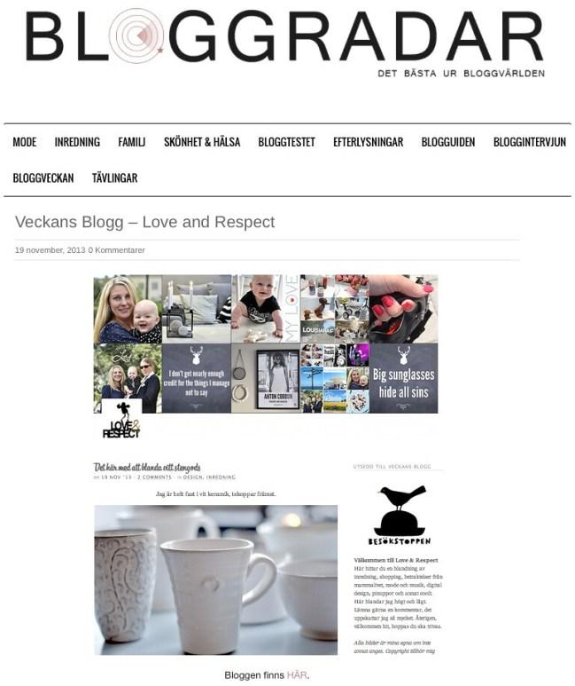 Veckans blogg på Bloggradar