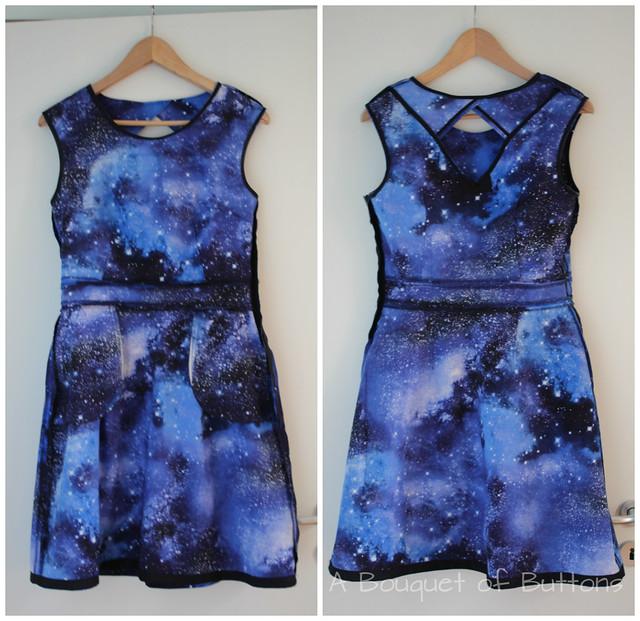 Galaxy, dress, jurk, Timeless Treasures, Belladone, Deer & Doe