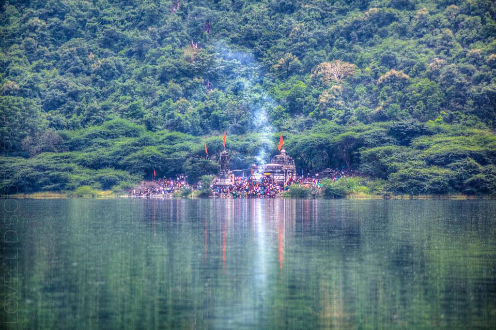 Kamalja Devi Temple from a distance, at the Lonar lake