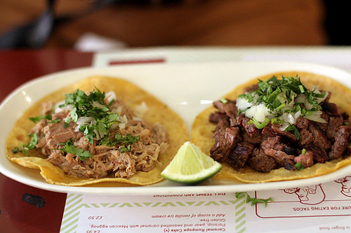 carnitas and beef tacos