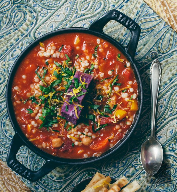 Mediterranean Harissa Stew with Purple Sweet Potato