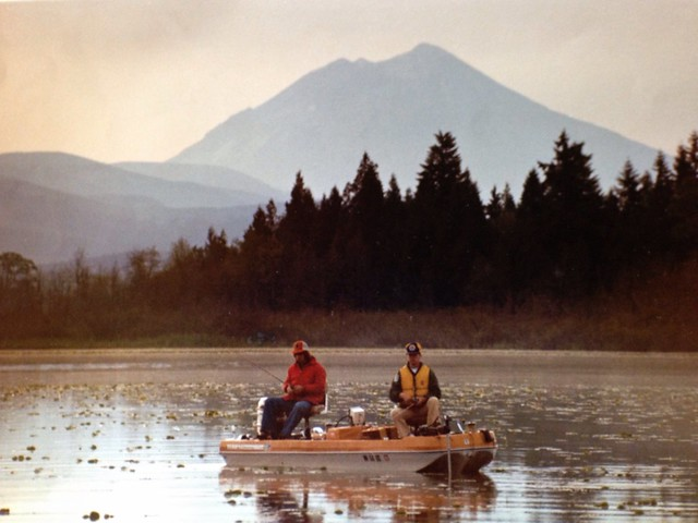 Fishing on Silver Lake, Cowlitz County, Washington - May 18, 1980 - Mt St Helens