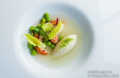Grilled marron w/smoked eel mousse & kangaroo island peas w/cos lettuce berowra waters inn
