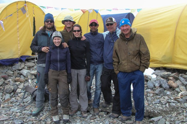 The gang at the Tien Shan base camp. South Inylchek Glacier Trek