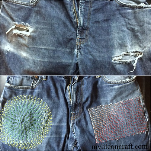 Visibly Mended Jeans, Before & After