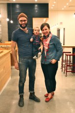 Co-owners Annie and Spencer Viehweger (and wee little Abraham) getting set for opening day