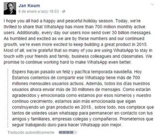 WhatsApp 700 millones