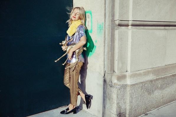 Natalie Joos in Burberry Prorsum metallic lilac shirt