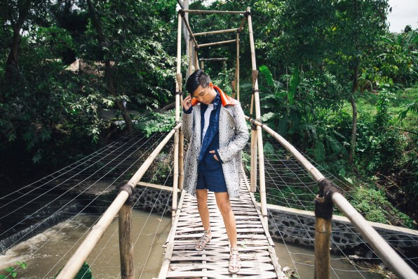 Bespoke coat in python skin made in Bali, Indonesia
