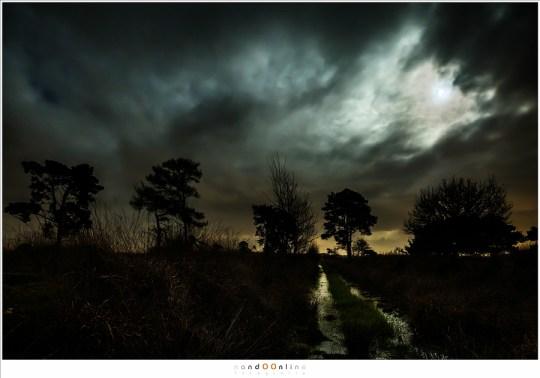 Maanlicht en wolken, een spel van licht en donker
