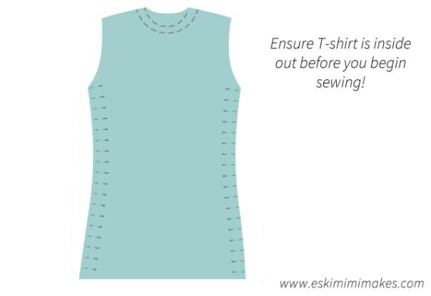 Pin side seams of tshirt