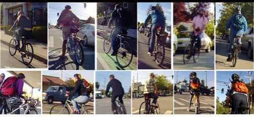 12 cyclists: 7 helmets, 5 no helmet