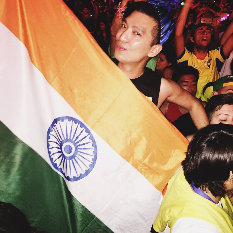 Indian flag held by Bryanboy