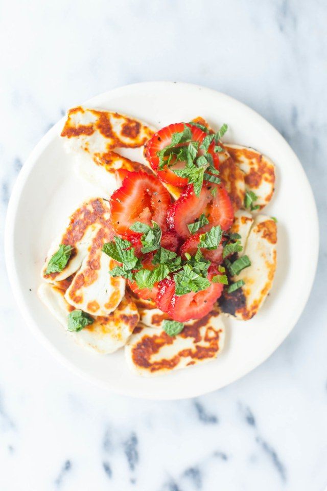 grilled haloumi with strawberries + herbs