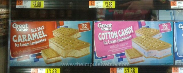Great Value Cotton Candy and Sea Salt Caramel Ice Cream Sandwiches