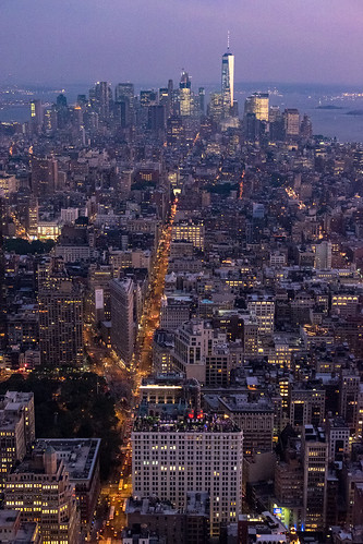 Downtown Manhattan at dusk seen from the Empire State Building