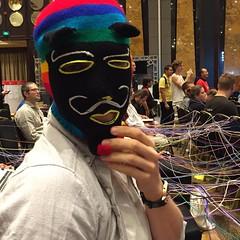 Kit getting a nice ski mask from @fablablima #fabercise @fabfndn #fab12 @kit.kaye.9
