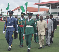 """Governor Adams Oshiomhole inspects the parade mounted by men of the Nigerian Armed Forces and the Police at a ceremony to celebrate Nigeria's 56th Independence Anniversary at the Samuel Ogbemudia Stadium, Saturd • <a style=""""font-size:0.8em;"""" href=""""http://www.flickr.com/photos/139025336@N06/30126507385/"""" target=""""_blank"""">View on Flickr</a>"""