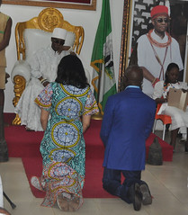 """Governor Adams Oshiomhole of Edo State and his wife, Iara, kneel for royal blessings before the Crown Prince of Benin Kingdom, His Royal Highness, Prince Eheneden Erediauwa, Edaiken N'Uselu • <a style=""""font-size:0.8em;"""" href=""""http://www.flickr.com/photos/139025336@N06/29498333954/"""" target=""""_blank"""">View on Flickr</a>"""