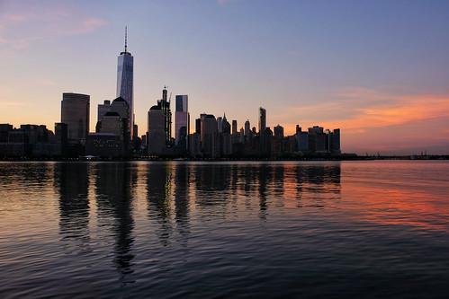 Downtown Manhattan sunrise skyline seen from New Jersey