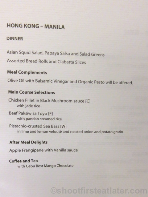 Philippine Airlines Business Class meal Mnl-Hkg-Mnl menu