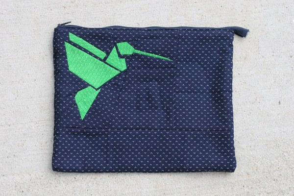 Hummingbird Origami Paper Piecing on iPad Sleeve