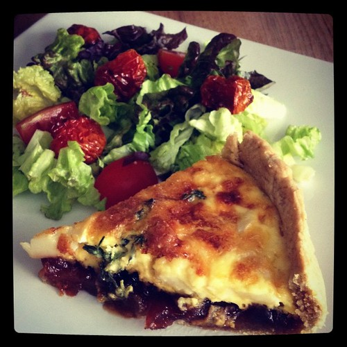 Goat's Cheese & Red Onion Marmalade Tart with Salad #dinner