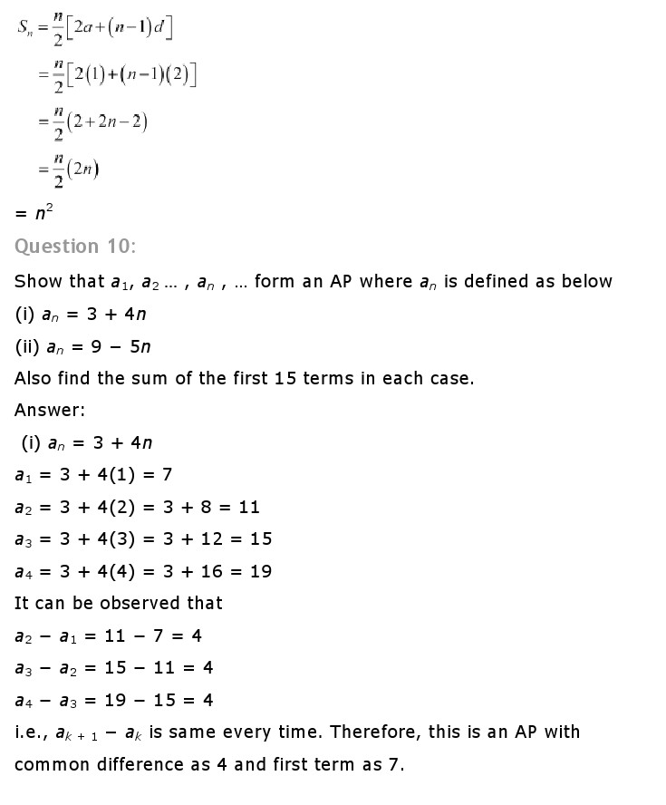 NCERT Solutions for Class 10th Maths: Chapter 5   Arithematic Progressions