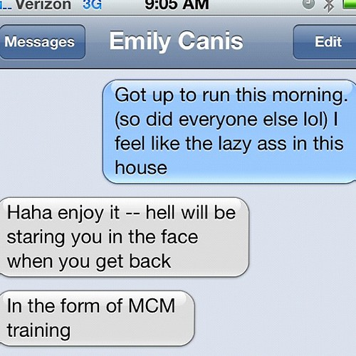 Friendly reminder from @ejcan that MCM training in the heat will kick our butts.