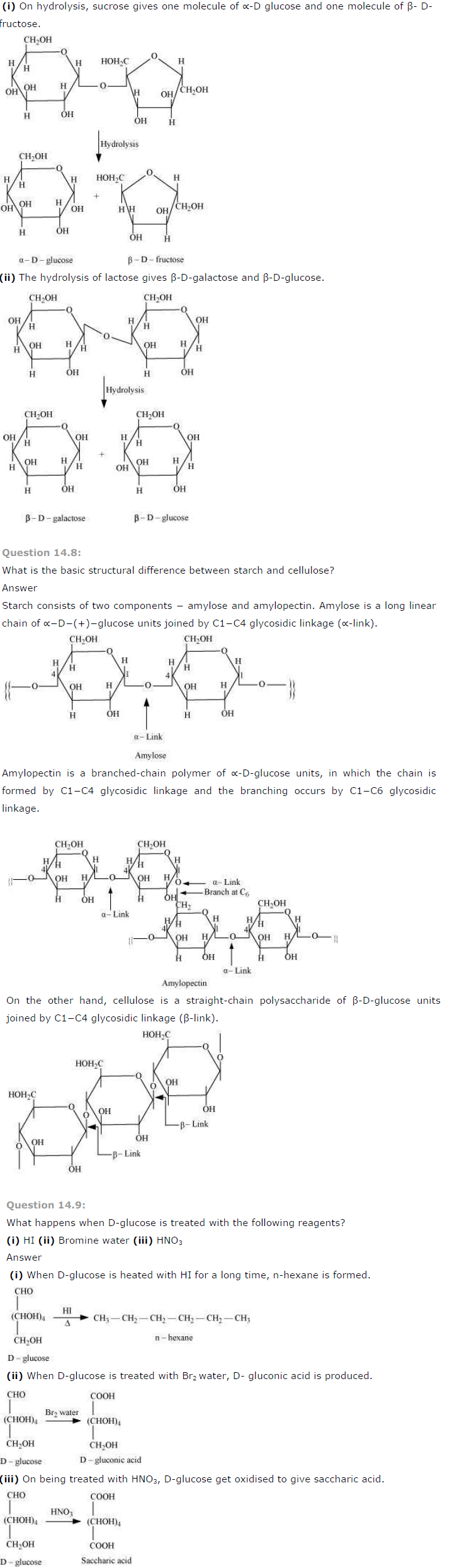 NCERT Solutions for Class 12th Chemistry Chapter 14 Biomolecules