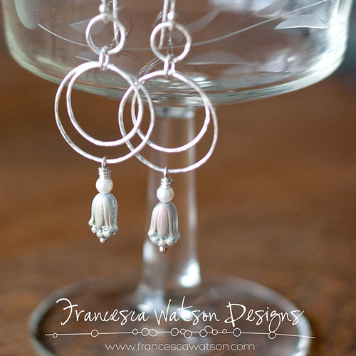 Double Hoop Earrings with Czech Glass by Francesca Watson Designs