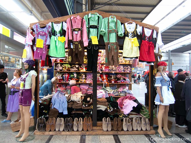 Lederhosen and dirndls for sale at a Munich train station
